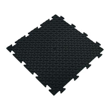 Piastrelle ad incastro Tecnic riso in pvc 50 x 50 cm Sp 8 mm,  nero