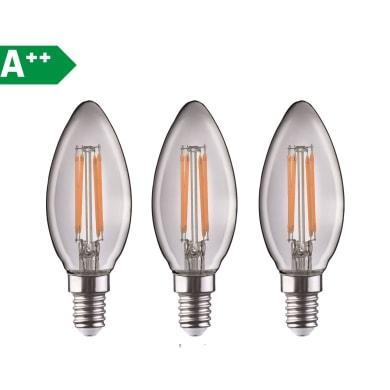 Lampadina Filamento LED E14 candela bianco tenue 4.5W = 470LM (equiv 40W) 360° LEXMAN, 3 pezzi