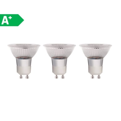 Lampadina LED GU10 riflettore bianco naturale 5W = 460LM (equiv 50W) 100° LEXMAN, 3 pezzi