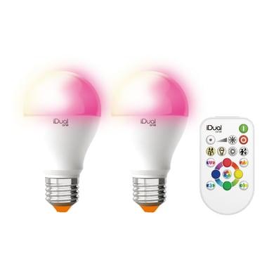Set di 2  lampadine LED, E27, Goccia, Opaco, RGB, 9.5W=806LM (equiv 60 W), 120° , LEXMAN