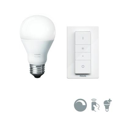 Lampadina smart lighting LED E27, Goccia, Opaco, Bianco, Luce calda, 9.5W=806LM (equiv 60 W), 150° , PHILIPS HUE