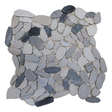 Piastrella decorativa Sassi H 30 x L 30 cm grigio / argento