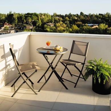 Set tavolo e sedie in acciaio Bistrot per 2 persone