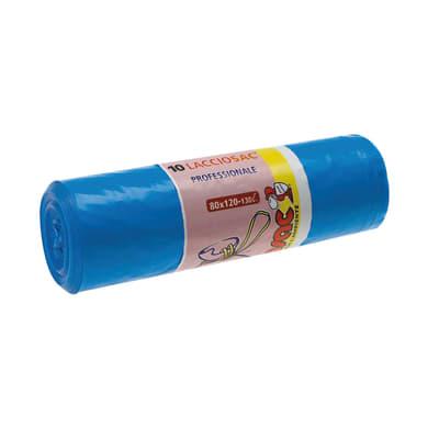 Sacchi spazzatura Lacciosac L 80 x H 120 cm 130 L azzurro 10 pezzi