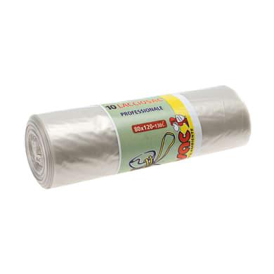Sacchi spazzatura Lacciosac neutro L 80 x H 120 cm 130 L trasparente 10 pezzi