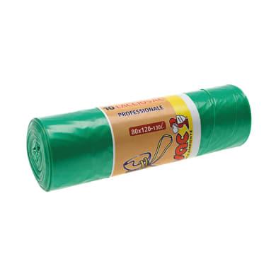 Sacchi spazzatura L 80 x H 120 cm 130 L verde 10 pezzi