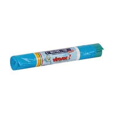 Sacchi spazzatura Saccopratico L 80 x H 105 cm 130 L azzurro 5 pezzi