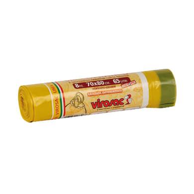 Sacchi spazzatura Saccopratico L 70 x H 80 cm 65 L giallo 8 pezzi