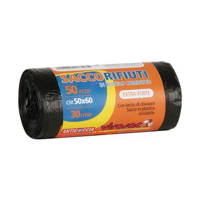 Sacchi spazzatura Virosac L 50 x H 60 cm 30 L nero 50 pezzi