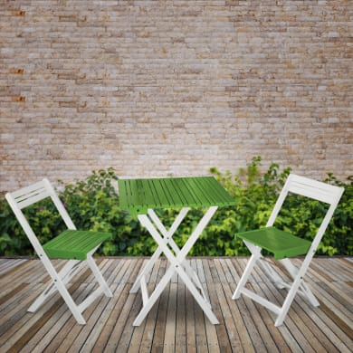 Set tavolo e sedie Balcony Verde in legno bianco 2 posti
