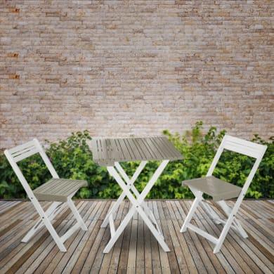 Mobile da giardino Balcony Grigio in legno bianco 2 posti
