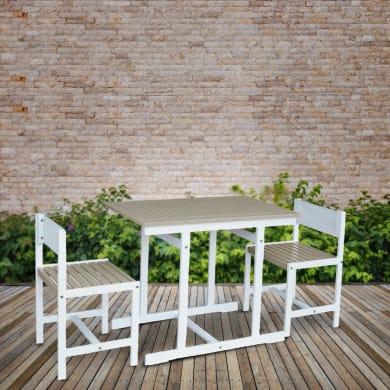 Set tavolo e sedie Balcony Grigio in legno bianco 2 posti