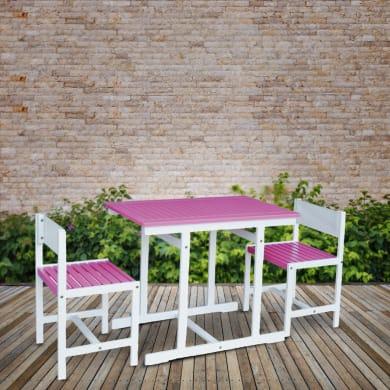Set tavolo e sedie Balcony Fucsia in legno bianco 2 posti
