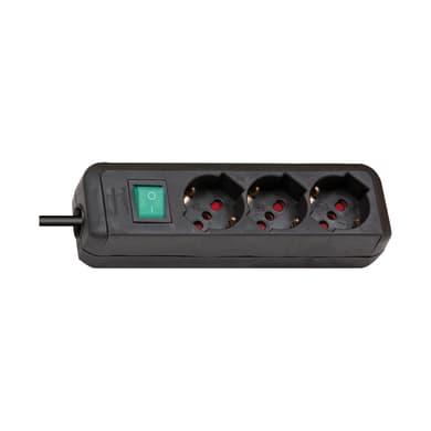Multipresa con cavo e con protezione Eco-Line nero 3 prese