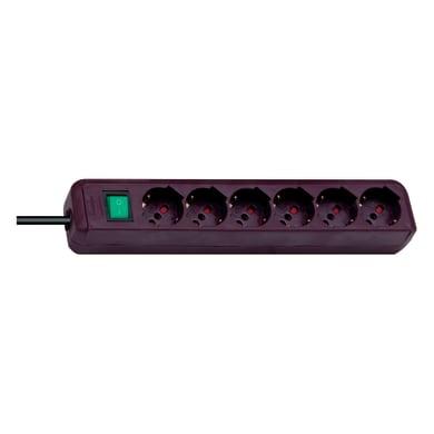 Multipresa con cavo e con protezione BRENNENSTUHL Eco-Line con interruttore bordeaux 6 prese