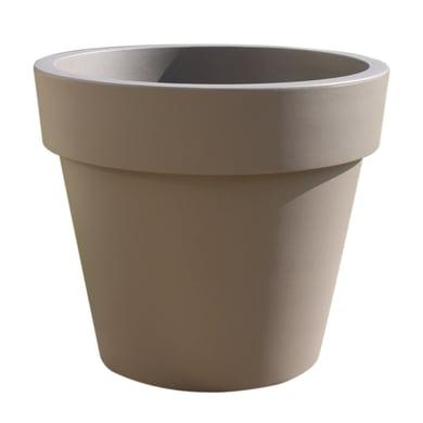 Vaso Super in plastica colore tortora H 52 cm, Ø 60 cm