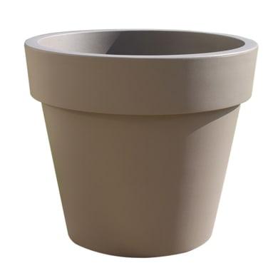 Vaso Super in plastica colore tortora H 35 cm, Ø 40 cm