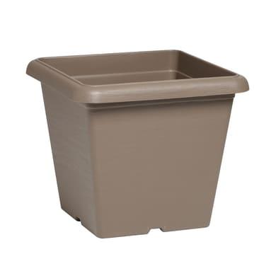 Vaso Terrae in plastica colore tortora H 31 cm, L 35 x P 35 cm