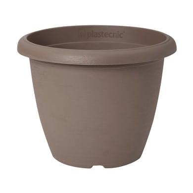 Vaso Terrae in polipropilene colore tortora H 23 cm, Ø 30 cm