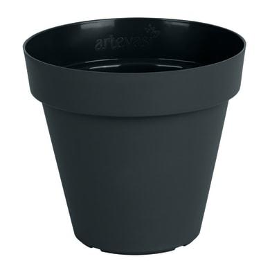 Vaso Capri ARTEVASI in plastica colore antracite H 13 cm, Ø 14 cm