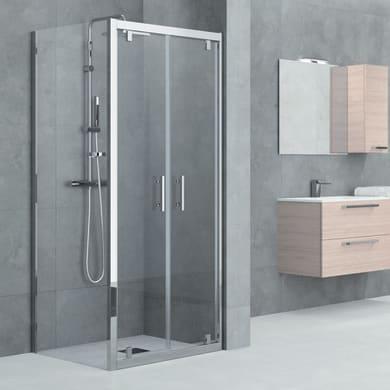 Porta doccia 2 ante a battente Elyt 170 cm, H 190 cm in vetro temprato, spessore 6 mm trasparente cromato