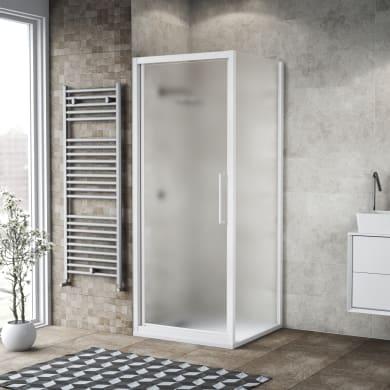 Box doccia battente 100 x 80 cm, H 195 cm in vetro, spessore 6 mm spazzolato bianco