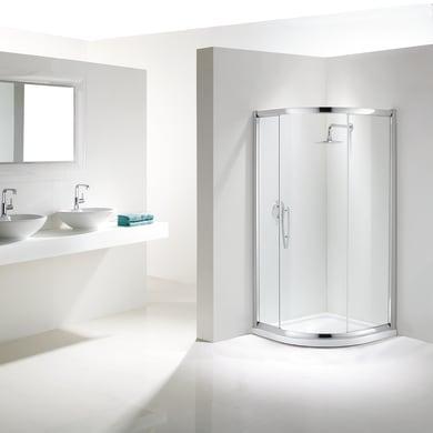 Box doccia semicircolare scorrevole Namara 80 x 80 cm, H 195 cm in vetro temprato, spessore 8 mm trasparente argento