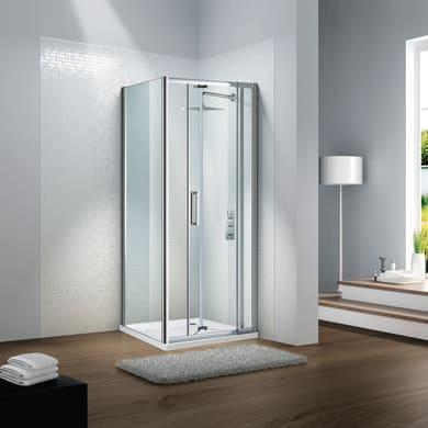Porta doccia pieghevole Slimline 80 cm, H 195 cm in vetro temprato, spessore 6 mm trasparente satinato