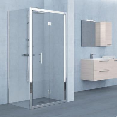 Porta doccia pieghevole Elyt 170 cm, H 190 cm in vetro temprato, spessore 6 mm trasparente cromato