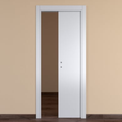Porta scorrevole a scomparsa One White bianco L 60 x H 210 cm reversibile