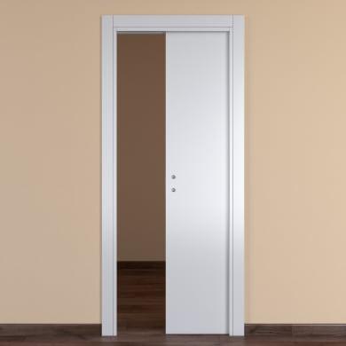 Porta scorrevole a scomparsa One White bianco L 90 x H 210 cm reversibile