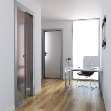 Porta scorrevole a scomparsa per ufficio Office Vetrata bianco L 80 x H 210 cm reversibile