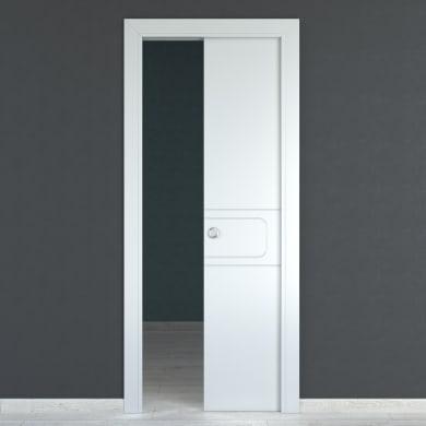 Porta scorrevole a scomparsa Seventy bianco L 80 x H 210 cm reversibile