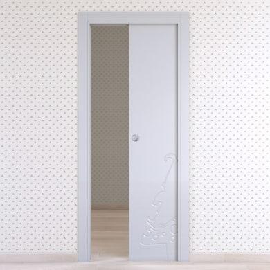 Porta scorrevole a scomparsa Dwarf bianco L 60 x H 210 cm reversibile