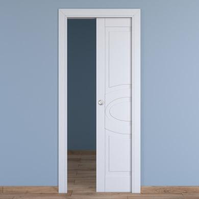Porta scorrevole a scomparsa Street bianco L 60 x H 210 cm reversibile
