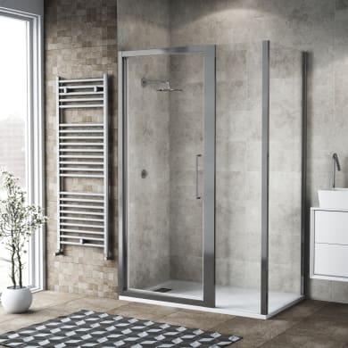 Box doccia battente 110 x 80 cm, H 195 cm in vetro, spessore 6 mm brinato / trasparente argento