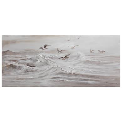 Quadro dipinto a mano Gabbiani Sul Mare 150x65 cm