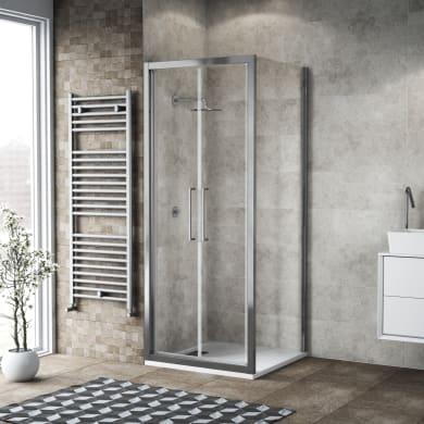 Box doccia battente 100 x 80 cm, H 195 cm in vetro, spessore 6 mm trasparente argento