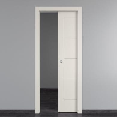 Porta scorrevole a scomparsa Ribera bianco L 80 x H 210 cm reversibile