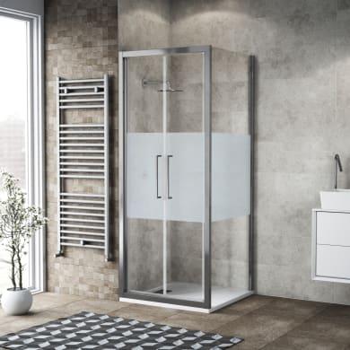 Box doccia battente 100 x 80 cm, H 195 cm in vetro, spessore 6 mm serigrafato argento