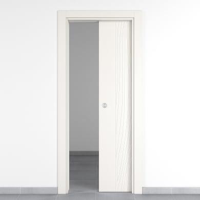 Porta scorrevole a scomparsa Wood bianco L 70 x H 210 cm reversibile