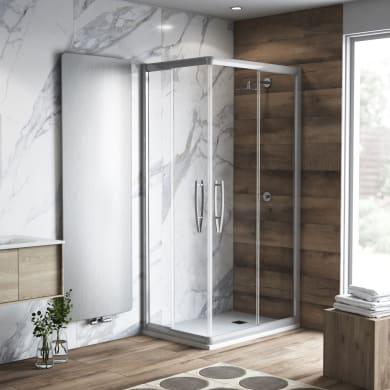 Box doccia rettangolare scorrevole Namara 70 x 100 cm, H 195 cm in vetro temprato, spessore 8 mm trasparente argento