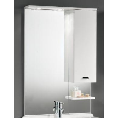 Specchio contenitore con luce Rimini L 70 x P 18.5 x H 108 cm lucido bianco laccato