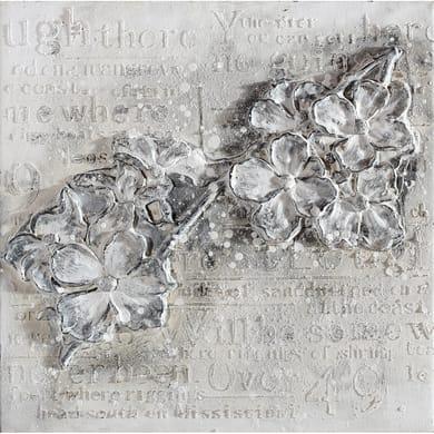 Quadro dipinto a mano Fiori grigi 1 60x60 cm