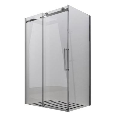 Box doccia angolare porta scorrevole e lato fisso rettangolare Skyline 140 x 80 cm, H 200 cm in vetro temprato, spessore 8 mm trasparente cromato