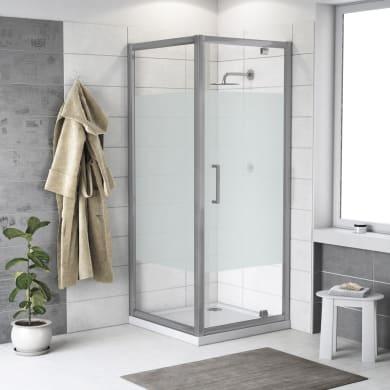 Box doccia quadrato battente Quad 70 x 80 cm, H 190 cm in vetro temprato, spessore 6 mm serigrafato argento