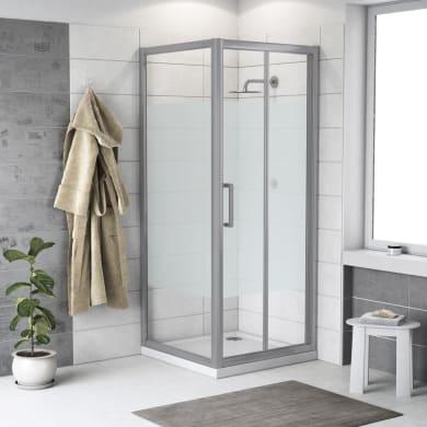 Box doccia rettangolare pieghevole Quad 70 x 80 cm, H 190 cm in vetro temprato, spessore 6 mm serigrafato argento