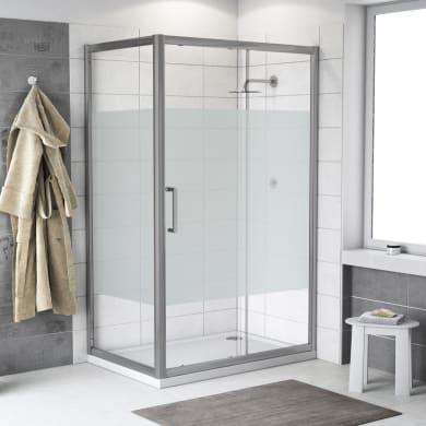 Box doccia angolare porta scorrevole e lato fisso rettangolare Quad 150 x 70 cm, H 190 cm in vetro temprato, spessore 6 mm serigrafato argento