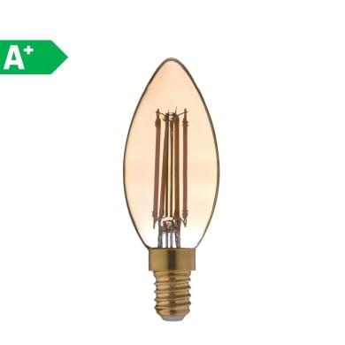 Lampadina Filamento LED E14 oliva ambrato 3.5W = 300LM (equiv 28W) 360° LEXMAN