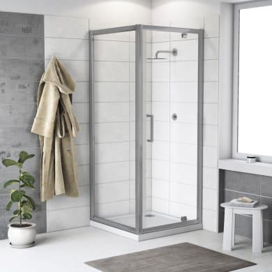 Box doccia rettangolare battente Quad 70 x 80 cm, H 190 cm in vetro temprato, spessore 6 mm trasparente argento